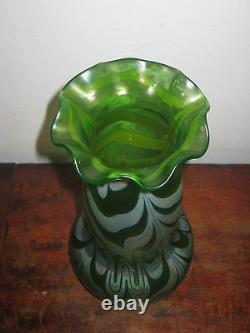 Austrian Large Irridescent Glass Vase High Jugendstil Art Nouveau