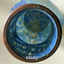 Austrian Loetz Era Blue Eagle Rim Vase