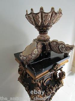 Austrian Majolica Centerpiece bowls by Wilhelm Schiller & Söhne, Signed, c1880