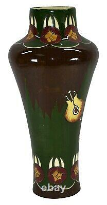 Austrian Pottery Art Nouveau Tall Floral Vase