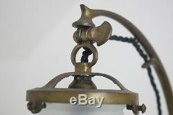 Austrian Secessionist Period Brass Adjustable Table Lamp, Art Nouveau Lighting