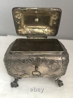 Austrian Silver Sugar Box With Key Art Nouveau Floral Motif 503 Grams