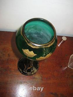 Austrian Tall Green Glass Vase With Gilt Overlay Jugendstil Art Nouveau