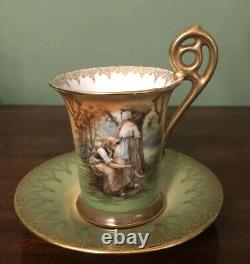Austrian Vienna Cabinet Cup And Saucer Hand Painted Antique Woodland Setting