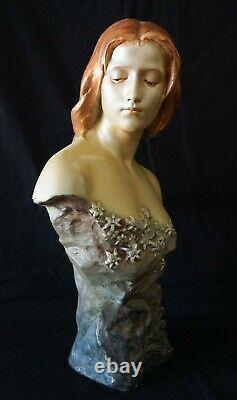 Austrian Wien Art Nouveau Female Bust by Friedrich Goldscheider (1845-1897)(FeO)