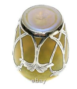 Austrian Yellow Iridescent Art Glass La Pierre Sterling Silver Overlay Vase