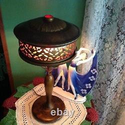 Austrian red mica jewel mission nouveau lamp- Handel Tiffany art crafts era