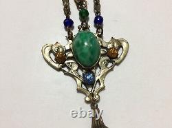 BEAUTIFUL Art Nouveau GLASS Lavalier Drop NECKLACE Czech Austrian