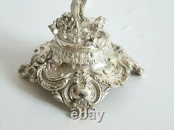 Beautiful Antique Austrian Silver Blue Cut Glass Tazza Centerpiece