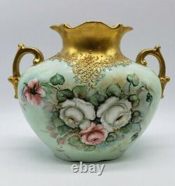Beautiful Antique Hand Painted Gold Gilded Rose Austrian Vase Stamped H. K. 55