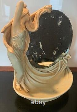 Beautiful Art Nouveau Bernard Bloch Amphora Figure With Circular Mirror Schoop