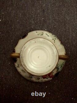 Beautiful Porcelain Fowers Cobalt Blue Art Nouveau Style Vase Bowl Gold Gilt