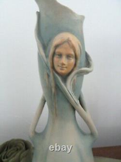Bernard Bloch Art Nouveau Amphora Ewer Vase c. 1900 Female Portrait in Relief