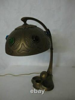 Best Of The Best Bronze Austrian Art Nouveau Lamp With Lovely Multicolored Gems