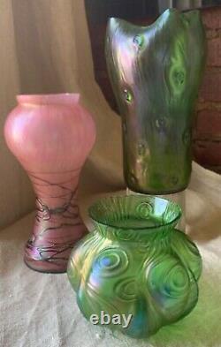 Bohemian Loetz Spiraloptisch Austrian Green Art Glass Iridescent Vase pumpkin
