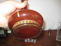 Bohemian Tall Cranberry Glass Vase With Gilt Jugendstil Art Nouveau