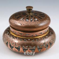 Bohemian or Austrian Copper Overlay Box and Cover c1900