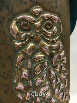 C1910 AUSTRIA AMPHORA CAMPINA VASE RARE DARK TURQUOISE / GOLD OWLS by JUNGWIRTH
