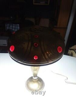 C. 1910 Antique Art Nouveau Table Lamp Jeweled Shade Austrian Arts & Crafts Era