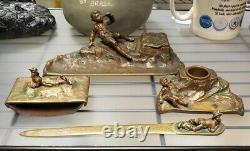 Ca. 1900 Austrian Art Nouveau H. Muller Style Gilt Bronze 4-Piece Desk Set