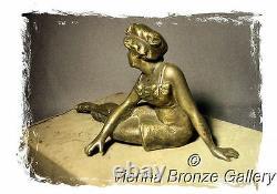 Ca. 1900 Exceptional AUSTRIAN ART NOUVEAU BRONZE Beauty in Swimsuit by Starek