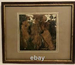Circa 1890 art nouveau Austrian / German Painting Signed L Right Four women