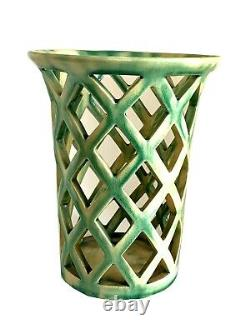 Dagobert Peche Wiener Werkstaette Gmundner ceramic open work vase c. 1914