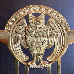 Early 2oth Cent. Austrian Art Nouveau OWL Jugendstil Brass Six Light Candelabra