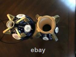 Early Pair of Quad Handled Teplitz Art Nouveau Cobalt Blue Amphora Vases