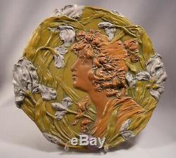 Ernst Wahliss Austrian Art Nouveau Beautiful Lady Amphora High Relief Plaque