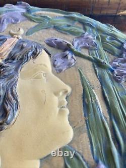 Ernst Wahliss Austrian Art Nouveau Ceramic Plaque Woman