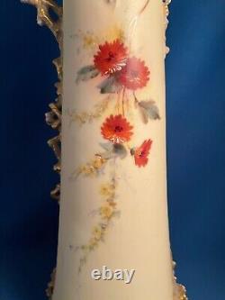 Ernst Wahliss Depose Turn Wien Hand Painted Flowers Ewer or Vase