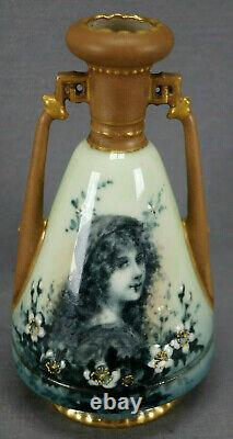 Ernst Wahliss Hand Painted Portrait Green Blue & Gold Small Vase Circa 1899-1918