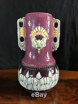 Exceptional Matched Art Nouveau Secessionist/Jugendstil Majolica Vase & Planter
