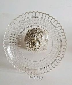 Exquisite 19C Austrian Figural Silver Cut Crystal Centerpiece Tazza
