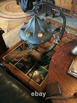 FIGURAL AUSTRIAN BRONZE 1900s GLASS CABOCHON EAGLE DESK LAMP ALL ORIGINAL