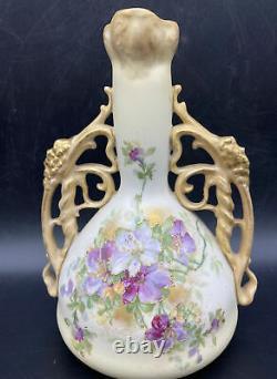 Fine Antique Art Nouveau Amphora Vase Ernst Wahliss Turn Vienna H/P Handled Gilt