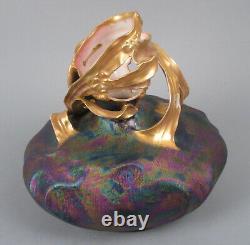 Fine Art Nouveau Carlsbad Austria Porcelain Vase Lustre Gilt Iridescent Pottery