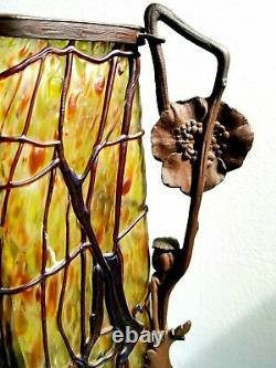 Fine Loetz Austrian Bohemian Glass Art Nouveau Vase w Bronze Stand Poppies 1915