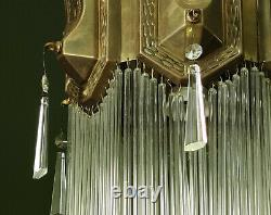 Genuine Antique Secessionist Brass Pendant Lamp with Tube & Pyramid Lustre Drops