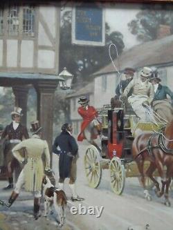 Gilbert S Wright Coaching Scene. H/Col litho 1906. Austrian Art Nouveau Frame