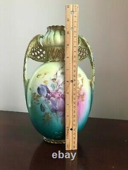 Gorgeous! Antique GiltHand Painted Austrian Porcelain Pierced Handled Vase