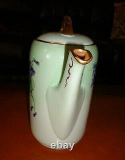 Hand Painted Signed A. Holmes Mz Austria Coffee Tea Pot, Violets & Gold, 10