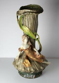 Imperial Amphora Turn Austria, Lg Art Nouveau Figural Vase with reclining figure