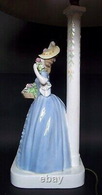 JUGENDSTIL VIENNA MEIER / GOLDSCHEIDER BIEDERMEIER LADY w FLOWERS LAMP C. 1912