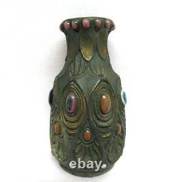 Jeweled Art Nouveau Amphora Art Pottery Vase Austria Bohemia XLNT