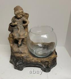 Johann Maresch Pottery Centerpiece Fountain Fish Bowl Signed By August Otto