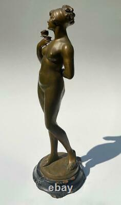 Karl Tuch Austrian Bronze Art Nouveau Jugendstil Young Woman Nude Rose Sculpture