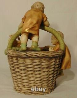 LARGE Imperial Turn Amphora Austrian Pottery Basket Children Rabbit Easter 15