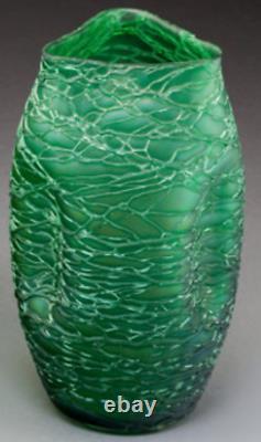 LOETZ Austrian Iridescent Glass VASE CRETE CHINE 1897 Antique Art Nouveau 9.5